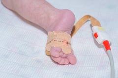 De sensor van impulsoximeter op de voet van pasgeboren baby bij het kinderen` s ziekenhuis royalty-vrije stock foto's