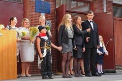 1 de septiembre, día del conocimiento en la escuela rusa Día de conocimiento Primer día de escuela Imagen de archivo
