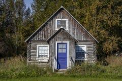 3 de septiembre de 2016 - esperanza histórica de Alaska de la cabaña de madera, Alaska Foto de archivo libre de regalías