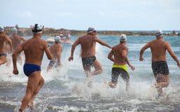 13 de septiembre de 2014, Gran nadada de Canaria, mar Foto de archivo