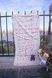 11 de septiembre de 2001 monumento en el tejado que mira sobre Weehawken, New Jersey, New York City, NY Foto de archivo
