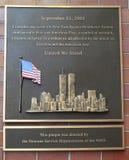 11 de septiembre de 2001 placa conmemorativa Fotos de archivo libres de regalías