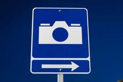 2 de septiembre de 2016 - señal de tráfico que señala el punto escénico de la visión para las fotos, backroads de Alaska Imágenes de archivo libres de regalías
