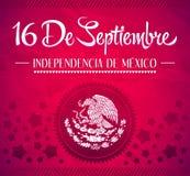 16 de Septiembre, diâmetro de independencia de México Imagem de Stock