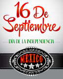 16 de Septiembre, dia de independencia de Mexico. September 16 Mexican independence day spanish text card - poster Vector Illustration