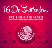 16 de Septiembre, dia de independencia de Mexico. September 16 Mexican independence day spanish text vector card Royalty Free Illustration