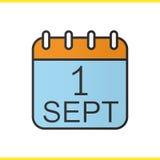 1 de septiembre icono del color del calendario Foto de archivo libre de regalías