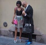 24 DE SEPTIEMBRE DE 2016: Junte la presentación para los fotógrafos antes del desfile de moda de GABRIELA COLANGELO, Milan Fashio Fotos de archivo libres de regalías