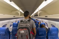 20 de septiembre de 2017 línea aérea de Filipinas del interior que va a Basco, Batanes Fotos de archivo