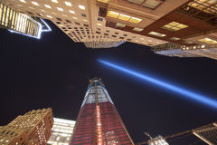 11 de septiembre luces del tributo Fotografía de archivo