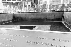 11 de septiembre monumento en Manhattan más baja, NYC Fotos de archivo