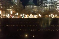 29 de septiembre de 2017 - NUEVA YORK/los E.E.U.U. - monumento 11 de septiembre, mundo tr Imagen de archivo
