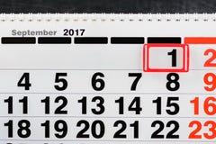 1 de septiembre Primer de la fecha del 1 de septiembre en calendario diario Fotografía de archivo libre de regalías