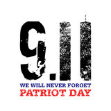11 de septiembre Vector el llustration para el día de fiesta americano, día del patriota Símbolo nacional americano de las torres Fotografía de archivo libre de regalías
