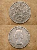 De serie: monedas del mundo. Inglaterra. DOS CHELINES. fotografía de archivo libre de regalías