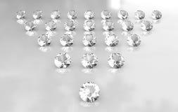 De serie van de driehoek van witte ronde diamanten Royalty-vrije Stock Foto