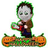 De seriemoordenaar met masker wil gelukkig Halloween op een geïsoleerde witte achtergrond Stock Foto's