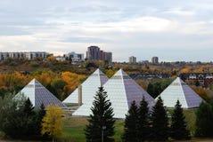 De serre van Muttart in Edmonton stock afbeeldingen