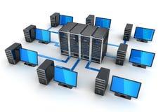 De server en sluit computers, concept Internet aan vector illustratie