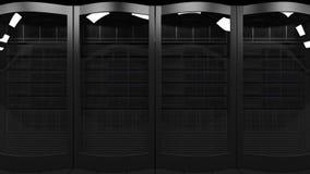 De server rekt het 3D teruggeven Wolkentechnologieën, ISP, collectieve IT, elektronische handel bedrijfsconcepten Stock Foto