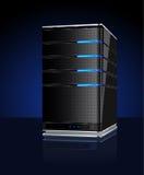 De server van de computer met bezinning stock afbeeldingen