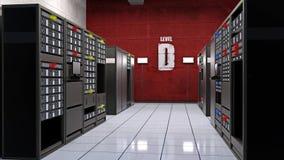 De serverruimte, gegevenscentrum met computerservers in rekken, 3D de gegevensopslag van de computerfaciliteit, geeft terug Royalty-vrije Stock Afbeeldingen