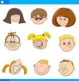 De set van tekens van beeldverhaalkinderen Stock Fotografie