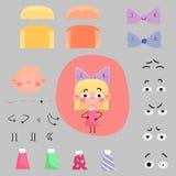 De set van tekens van het beeldverhaalmeisje Stock Foto's