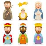 De Set van tekens van het geboorte van Christusbeeldverhaal Royalty-vrije Stock Afbeeldingen