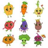 De Set van tekens van het groentenbeeldverhaal Stock Afbeeldingen