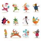 De Set van tekens van Kerstmis Stock Afbeeldingen