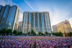 11 de setembro bandeiras memoráveis no parque de Romare Bearden, em da parte alta da cidade Foto de Stock Royalty Free