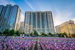 11 de setembro bandeiras memoráveis no parque de Romare Bearden, em da parte alta da cidade Foto de Stock