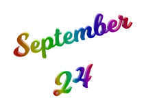 24 de setembro data do calendário do mês, 3D caligráfico rendeu a ilustração do texto colorida com inclinação do arco-íris do RGB Fotografia de Stock