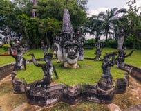 26 de setembro de 2014: As estátuas de pedra budistas na Buda estacionam, Laos Foto de Stock Royalty Free