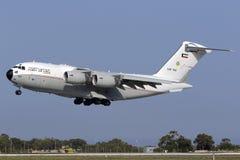 4 de setembro de 2015, Luqa, Malta: Aterrissagem C-17 Imagens de Stock Royalty Free