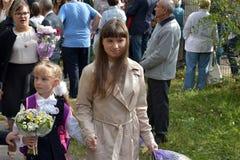 1º de setembro, dia do conhecimento na escola do russo Foto de Stock