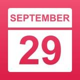 29 de setembro E Dia no calend?rio Vigésimo nono setembro Ilustra??o ilustração royalty free