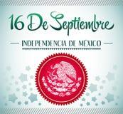 16 de setembro texto mexicano do espanhol do Dia da Independência Foto de Stock
