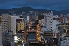 9 de setembro vista 2016 da cidade na noite, Japão de Nagasaki Fotografia de Stock