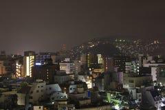 9 de setembro vista 2016 da cidade na noite, Japão de Nagasaki Imagens de Stock