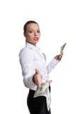 De sexy bedrijfsvrouw geeft een bankbiljet met uitdagendheid stock afbeelding