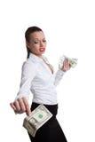 De sexy bedrijfsvrouw neemt een dollar met uitdagendheid stock foto's