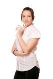De sexy brunette in wit chemise royalty-vrije stock foto's