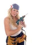 De sexy dame van de contractantbouw met hulpmiddelen Royalty-vrije Stock Fotografie