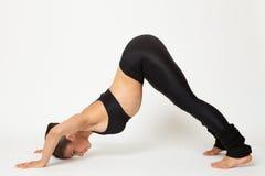 De sexy geschikte donkerbruine vrouw in sportenslijtage in yoga stelt Stock Fotografie