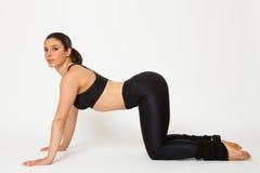 De sexy geschikte donkerbruine vrouw in sportenslijtage in yoga stelt Royalty-vrije Stock Foto