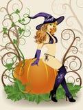 De sexy heks van Halloween met spin en pompoen Stock Foto