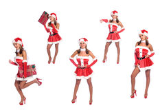 De Sexy Helpers van de kerstman stock afbeeldingen