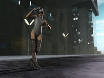 De sexy jager van de scifi vrouwelijke gulle gift in de stad Royalty-vrije Stock Fotografie
